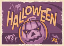 Halloween party retro invitation card design. On old paper texture. Happy Halloween vintage vector poster idea with pumpkin head on purple background Stock Photo