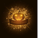 Halloween party. Ribbon banner. Abstract bright flash of light with golden lights. Yellow cartoon angry pumpkin. Silhouettes of sp Royalty Free Stock Images