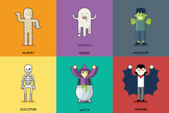 Halloween Party Roles Characters Icons Set Stylish Royalty Free Stock Image