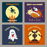 Halloween party scary flat posters Royalty Free Stock Photo