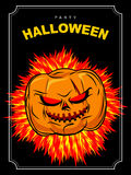 Halloween party. Scary pumpkin with red eyes and a fiery backgro. Und. Vector poster for scary holiday Stock Photography