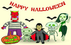 Halloween Party. Set of Halloween, ghosts around the world, vector cartoon Stock Photos