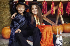 Halloween party. Siblings celebrating great Halloween party Stock Image