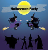 Halloween Party Sign. Halloween Party notice with witches and wine and people partying below Stock Photography