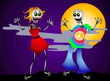 Halloween Party Skeletons 2. A clip art illustration of a pair of halloween skeletons dancing and partying, dressed in cool clothes. Set on a night sky stock illustration