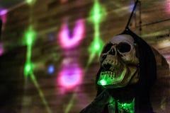 Halloween Party Skull head light smiling dark Stock Photo