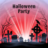 Halloween Party on a spooky graveyard Royalty Free Stock Images