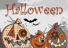 Halloween Party stylized festive pumpkins on grunge background in gray and black tonahs inscription and silhouettes of bats Stock Photos