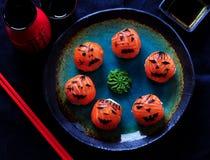 Halloween party sushi, Temari sushi, sushi balls Royalty Free Stock Photos