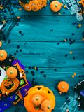 Halloween party decorations frame on dark green Stock Photo