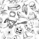 Halloween party symbols pencil sketch pattern. Halloween pattern of doodle sketch symbols and characters for halloween holiday celebration design. Elements of stock illustration
