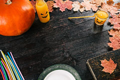 Halloween party table frame Royalty Free Stock Photo