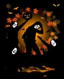 Halloween-Party, tanzende Leute im Kostüm Stockbilder