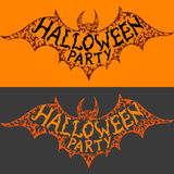 Halloween party. Text on flying bat silhouette. Stock Photos
