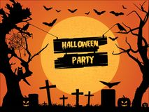 Halloween party text graphics. Halloween Party in text graphics on sign illustrated between trees in graveyard on orange Vector Illustration