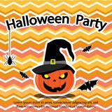 Halloween Party Theme have pumpkin,bat,spider and cobweb about use to greeting card, poster and adverting. Halloween background royalty free illustration