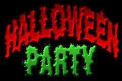 Halloween Party Title Art. Illustration of halloween party title isolated on black background Royalty Free Stock Images