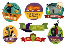 Halloween vector icons for party greeting Stock Image