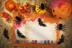 Halloween Party, Trick or Treat. Halloween theme party accessories on wooden background , Top view or flat lay with copy space Stock Images