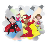 Halloween party vampire witch dancing Royalty Free Stock Images