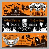 Halloween party vector banners for Friday 13 night. Happy Halloween Friday 13 night party banner invitation template. Vector design of pumpkin lantern, dead Stock Photography