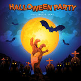 Halloween Party Vector Concept Full Moon Land Stock Images