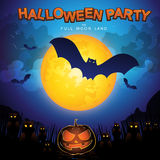 Halloween Party Vector Concept Full Moon Land Royalty Free Stock Photos