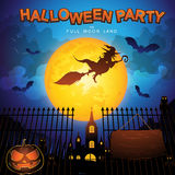 Halloween Party Vector Concept Full Moon Land Stock Photography