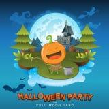 Halloween Party Vector Concept Full Moon Land Royalty Free Stock Photos