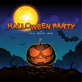 Halloween Party Vector Concept Full Moon Land Stock Photos