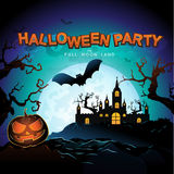 Halloween Party Vector Concept Full Moon Land Royalty Free Stock Images