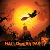 Halloween Party Vector Concept Full Moon Land Royalty Free Stock Photography