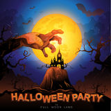 Halloween Party Vector Concept Full Moon Land Royalty Free Stock Image