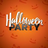 Halloween Party vector illustration with calligraphy writing on orange background. Holiday design with abstract scary Stock Photo