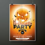 Halloween Party vector illustration with moon on orange background. Holiday design with spiders and bats for party Stock Image