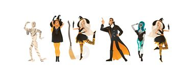 Halloween party vector illustration set with people in different carnival costumes. Halloween party vector illustration set with people in different carnival royalty free illustration