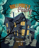Halloween party vector invitation card with creepy house Royalty Free Stock Images