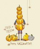 Halloween party vector invitation card with cute pumpkins Stock Photos