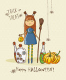 Halloween party vector invitation card with cute witch, bottles, pumpkins Stock Photography