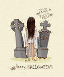 Halloween party vector invitation card with ghost, tombs Stock Photos