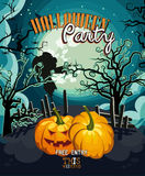 Halloween party vector invitation card with jack pumpkins Royalty Free Stock Images