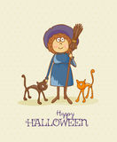 Halloween party vector invitation card with witch and two cats Stock Image