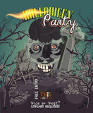 Halloween party vector invitation card with zombie Royalty Free Stock Photography
