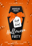 Halloween party vector poster with black coffin Stock Images