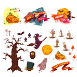 Halloween party vector set elements. Banners and Stock Image