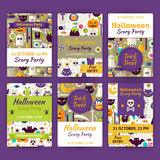 Halloween Party Vector Template Invitation Set in Modern Flat St Royalty Free Stock Image