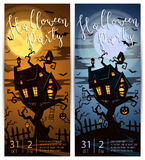 Halloween party vertical flyers with spooky castle Stock Photo