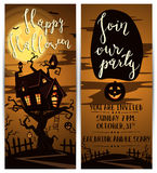 Halloween party vertical flyers with spooky castle Stock Images
