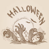Halloween party vintage engraving crosshatch hand drawn banner Royalty Free Stock Photos