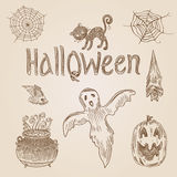Halloween party vintage engraving crosshatch hand drawn banner Royalty Free Stock Image